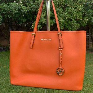 Michael Kors Orange Jet Set Travel Handbag Tote